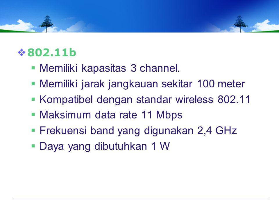 802.11b Memiliki kapasitas 3 channel. Memiliki jarak jangkauan sekitar 100 meter. Kompatibel dengan standar wireless 802.11.