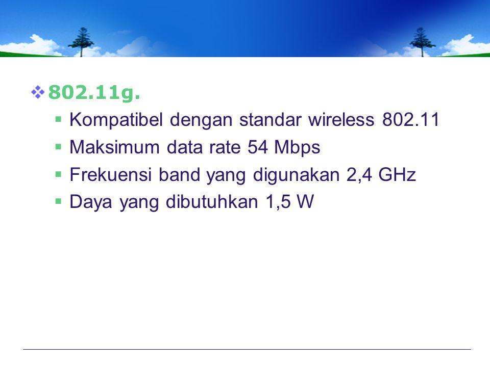 802.11g. Kompatibel dengan standar wireless 802.11. Maksimum data rate 54 Mbps. Frekuensi band yang digunakan 2,4 GHz.