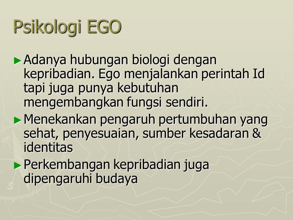 Psikologi EGO Adanya hubungan biologi dengan kepribadian. Ego menjalankan perintah Id tapi juga punya kebutuhan mengembangkan fungsi sendiri.