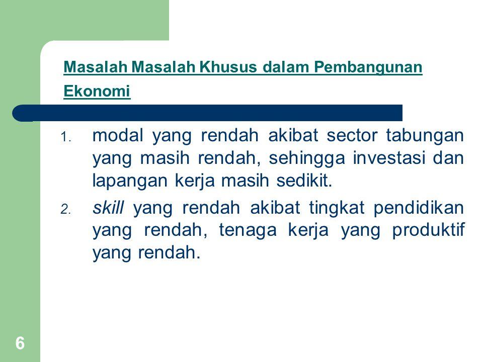 Masalah Masalah Khusus dalam Pembangunan Ekonomi
