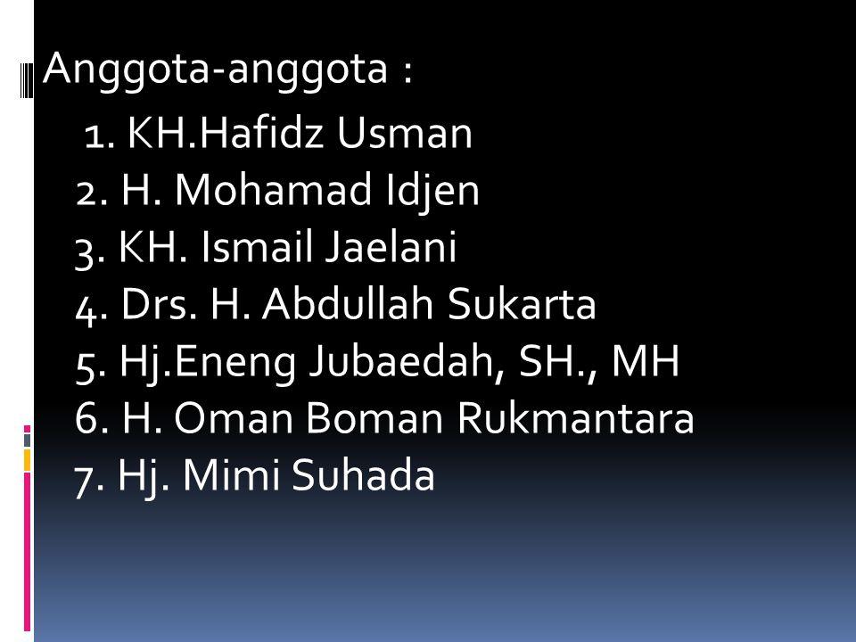 Anggota-anggota : 1. KH. Hafidz Usman 2. H. Mohamad Idjen 3. KH