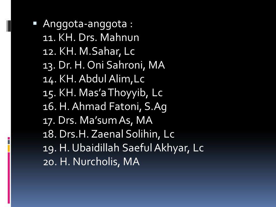 Anggota-anggota : 11. KH. Drs. Mahnun 12. KH. M. Sahar, Lc 13. Dr. H