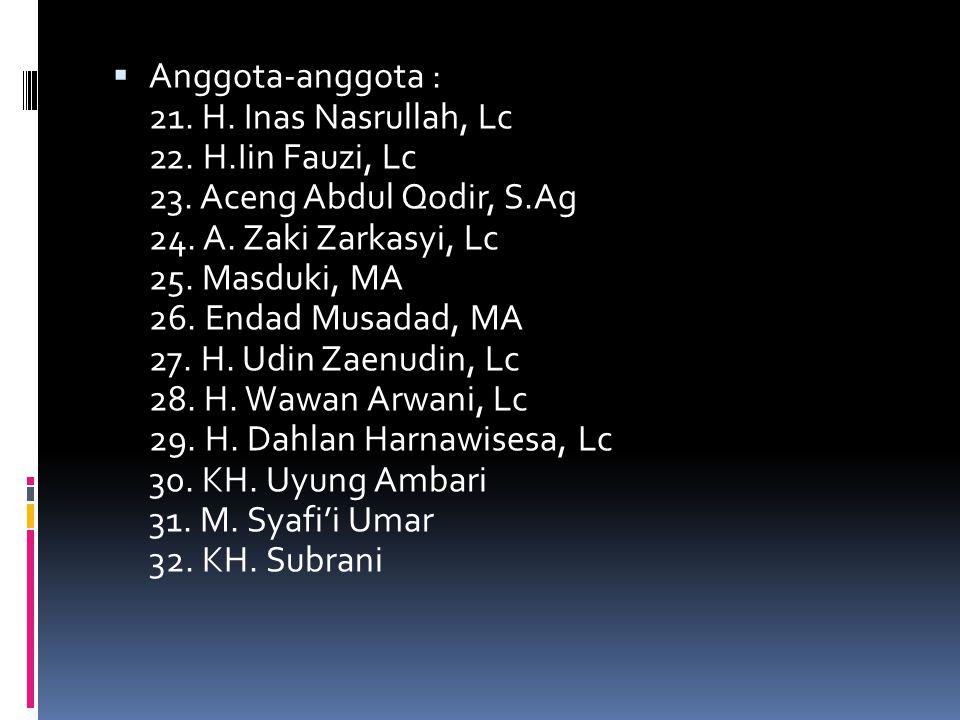 Anggota-anggota : 21. H. Inas Nasrullah, Lc 22. H. Iin Fauzi, Lc 23