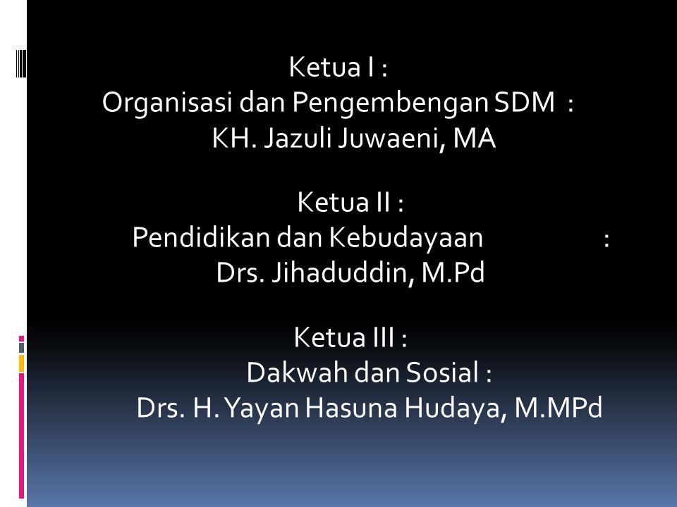 Ketua I : Organisasi dan Pengembengan SDM : KH