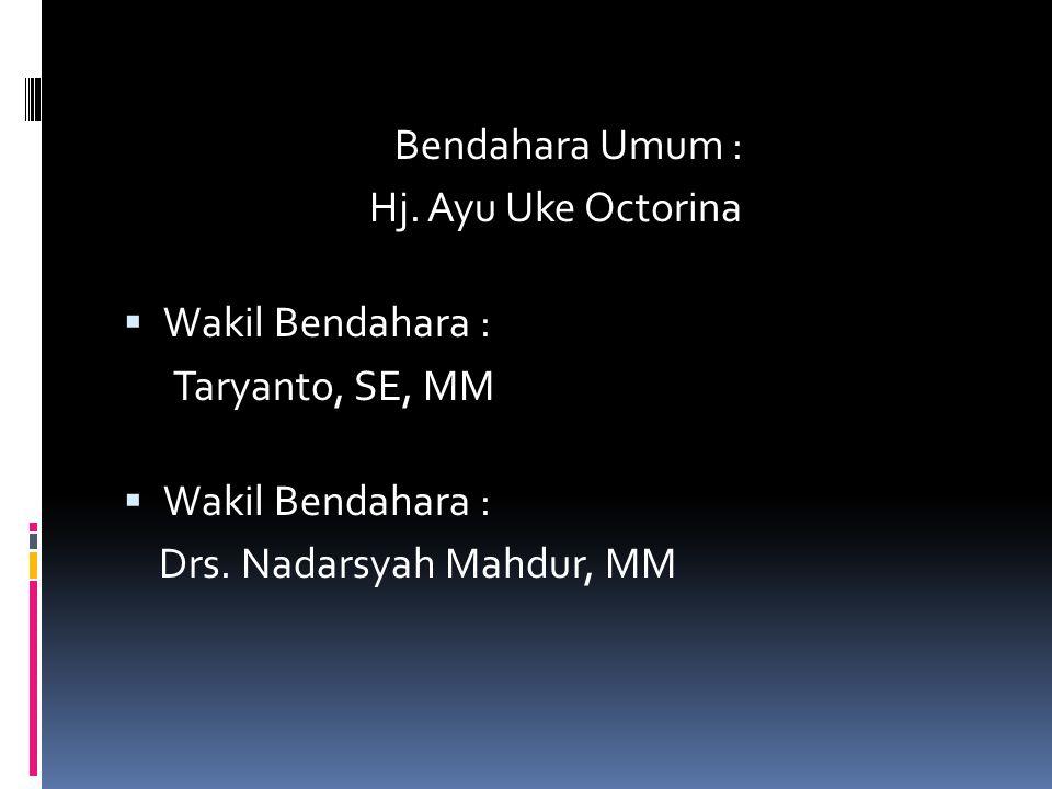 Bendahara Umum : Hj. Ayu Uke Octorina Wakil Bendahara : Taryanto, SE, MM Drs. Nadarsyah Mahdur, MM