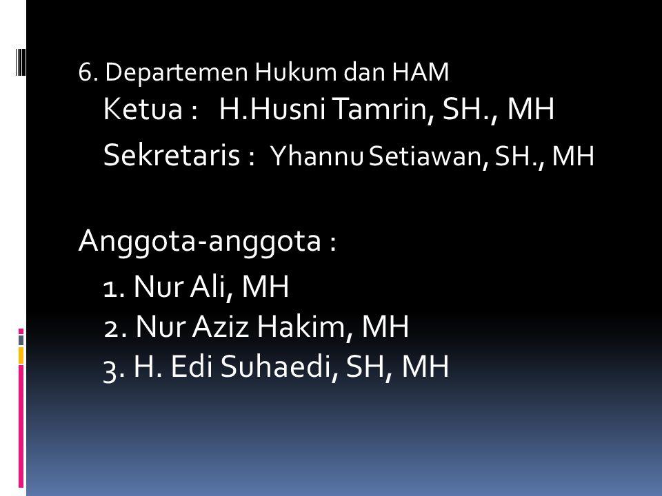 Sekretaris : Yhannu Setiawan, SH., MH Anggota-anggota :