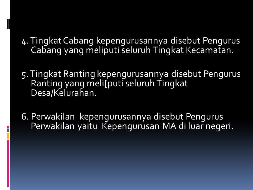 4. Tingkat Cabang kepengurusannya disebut Pengurus Cabang yang meliputi seluruh Tingkat Kecamatan.