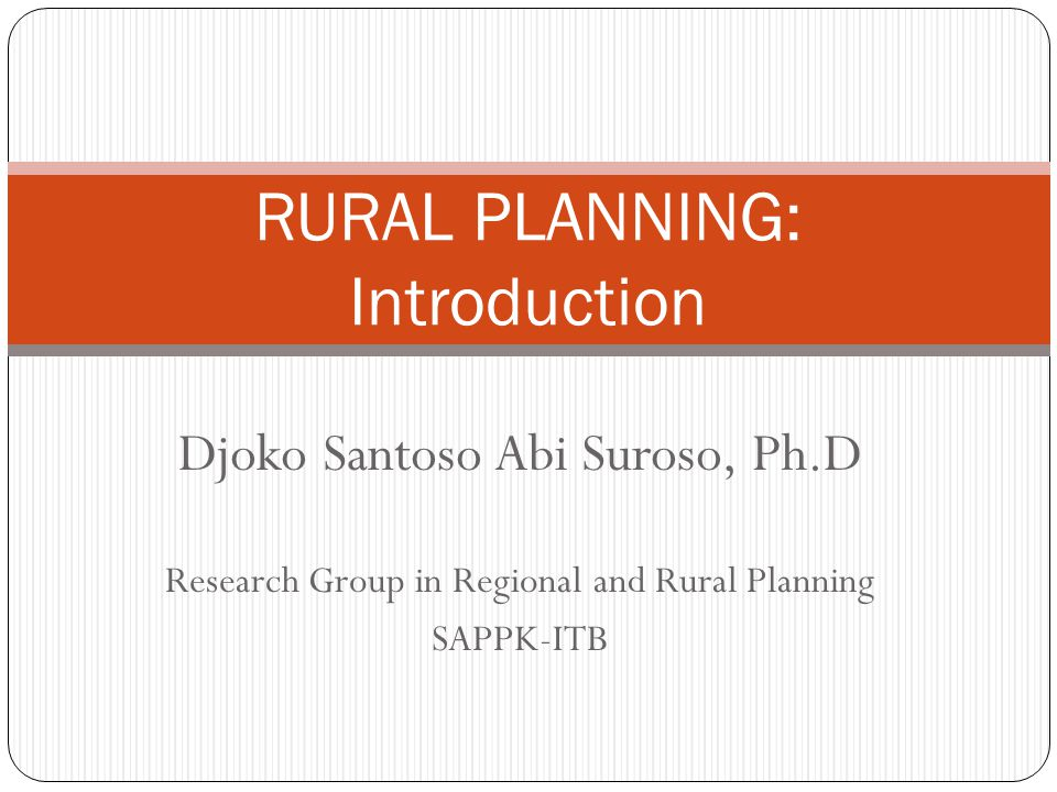 RURAL PLANNING: Introduction