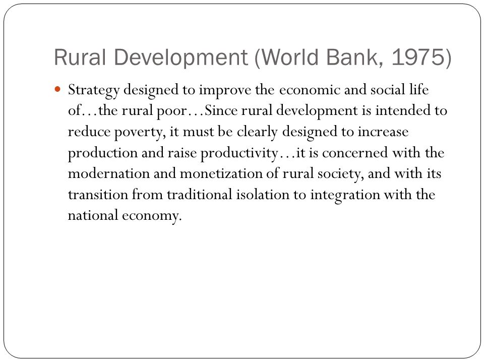 Rural Development (World Bank, 1975)