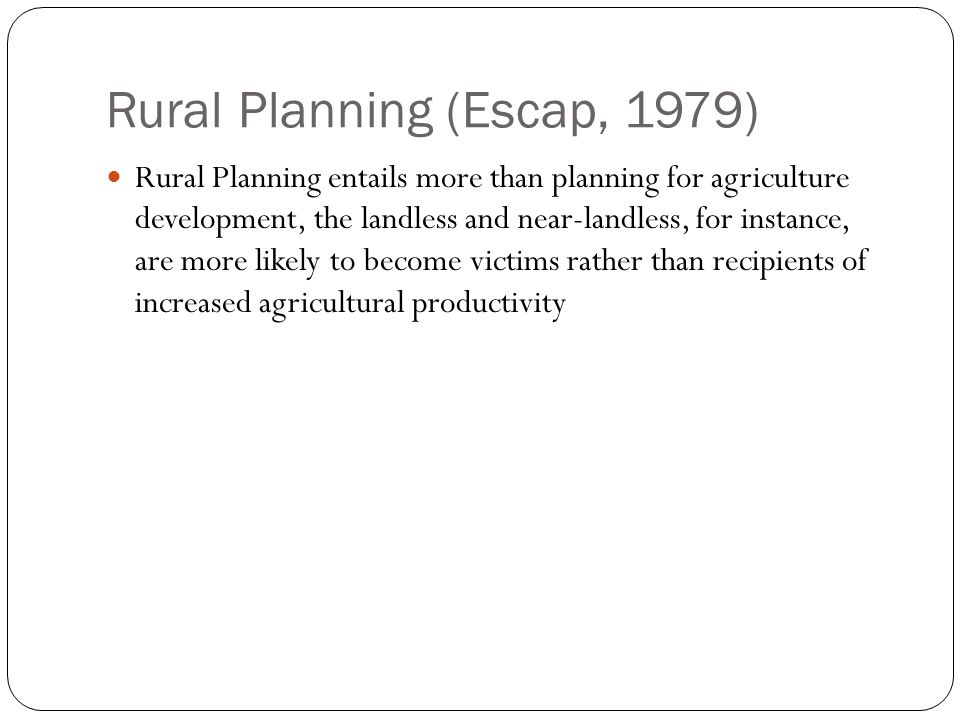 Rural Planning (Escap, 1979)