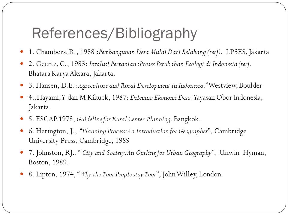 References/Bibliography