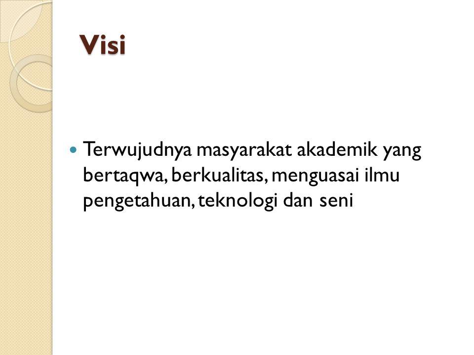 Visi Terwujudnya masyarakat akademik yang bertaqwa, berkualitas, menguasai ilmu pengetahuan, teknologi dan seni.