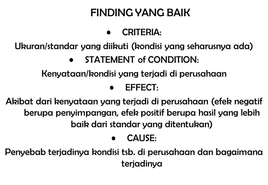 FINDING YANG BAIK CRITERIA: