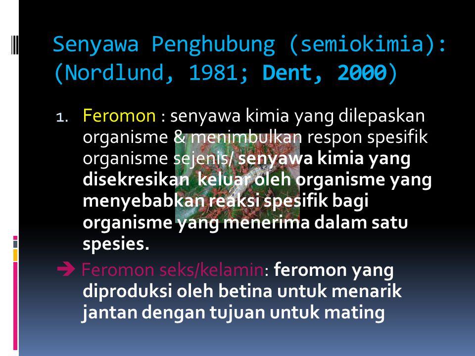 Senyawa Penghubung (semiokimia): (Nordlund, 1981; Dent, 2000)