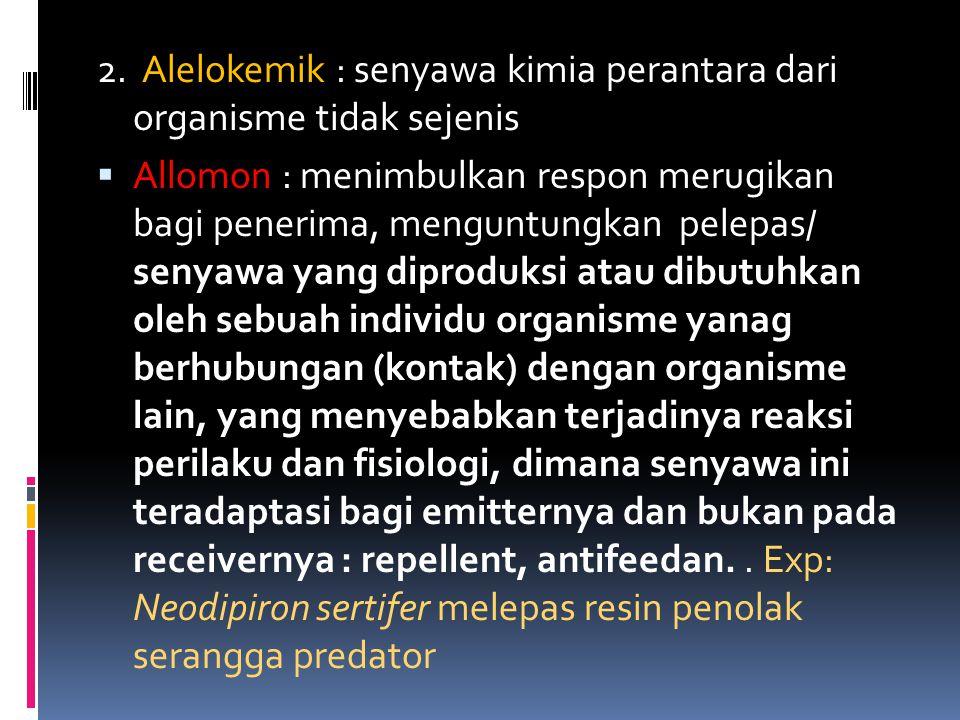 2. Alelokemik : senyawa kimia perantara dari organisme tidak sejenis
