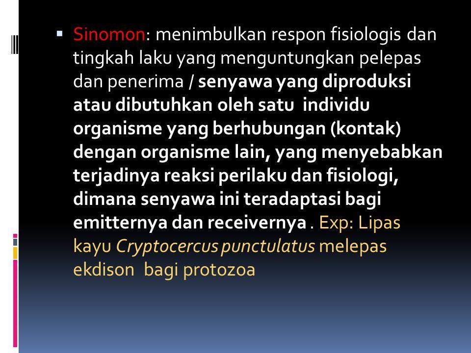 Sinomon: menimbulkan respon fisiologis dan tingkah laku yang menguntungkan pelepas dan penerima / senyawa yang diproduksi atau dibutuhkan oleh satu individu organisme yang berhubungan (kontak) dengan organisme lain, yang menyebabkan terjadinya reaksi perilaku dan fisiologi, dimana senyawa ini teradaptasi bagi emitternya dan receivernya .