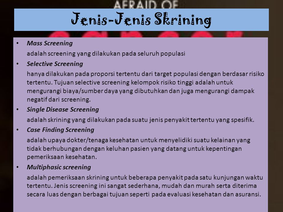 Jenis-Jenis Skrining Mass Screening