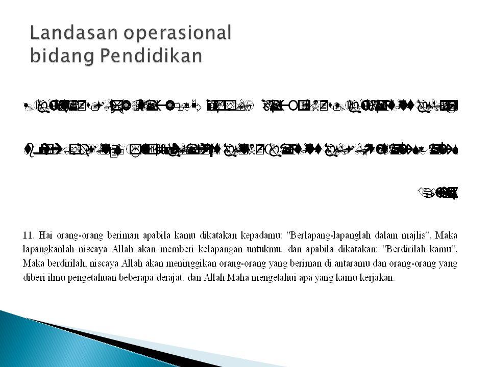 Landasan operasional bidang Pendidikan