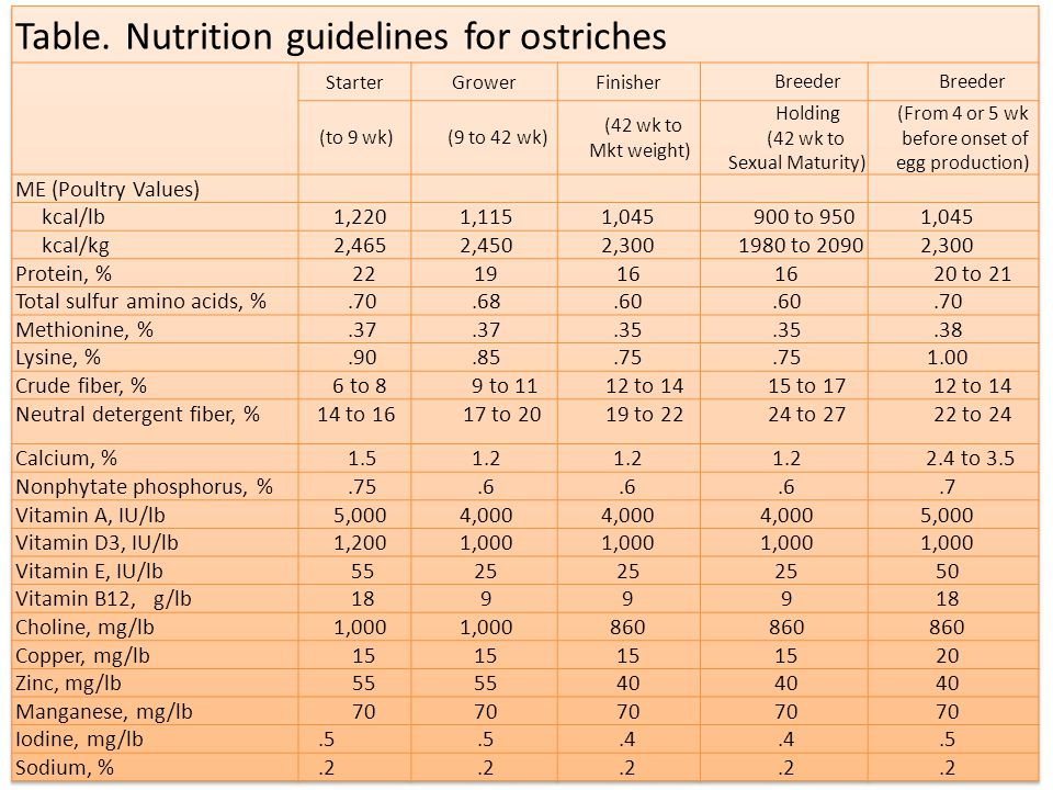 Table. Nutrition guidelines for ostriches