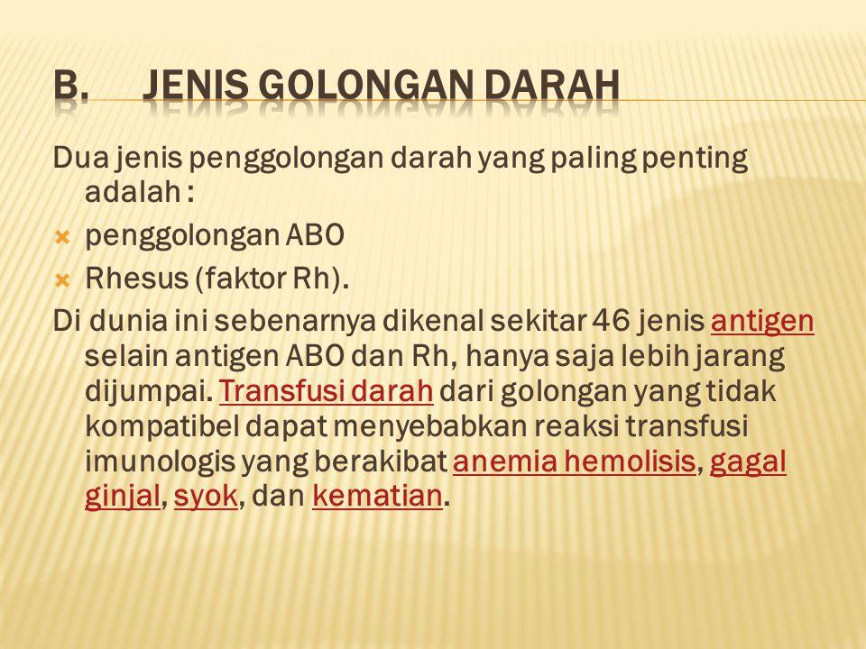 B. JENIS GOLONGAN DARAH Dua jenis penggolongan darah yang paling penting adalah : penggolongan ABO.