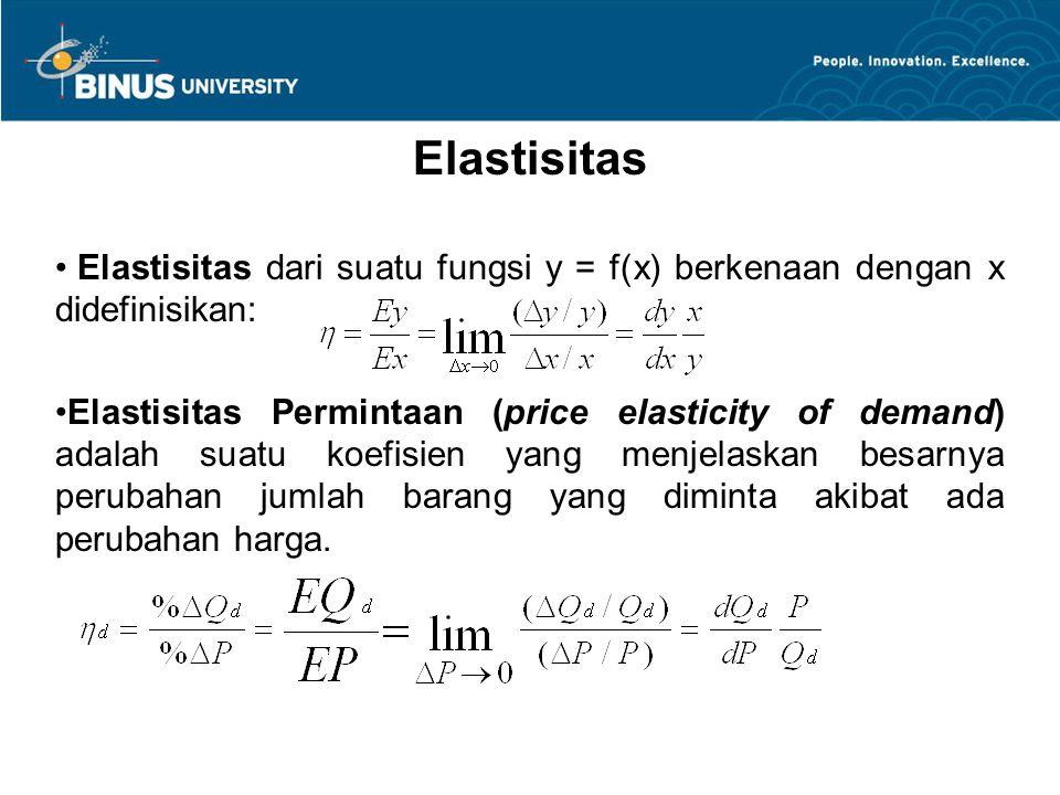 Elastisitas Elastisitas dari suatu fungsi y = f(x) berkenaan dengan x didefinisikan: