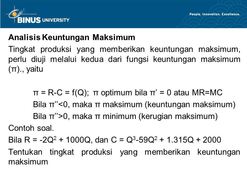 Analisis Keuntungan Maksimum