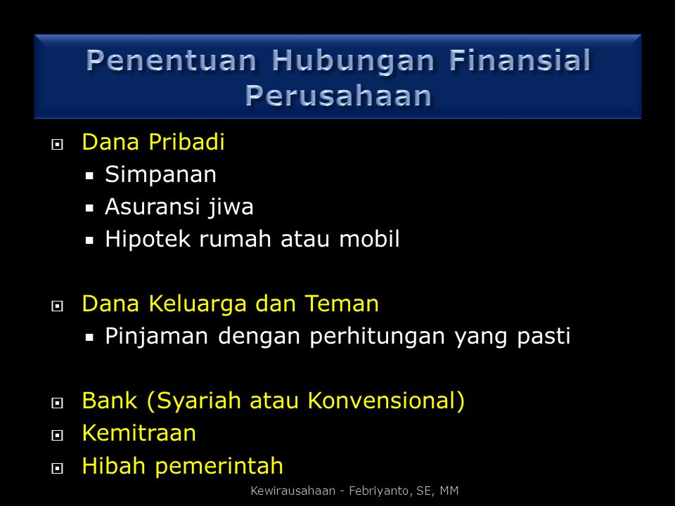 Penentuan Hubungan Finansial Perusahaan