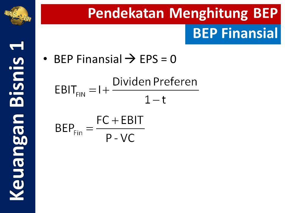 Keuangan Bisnis 1 Pendekatan Menghitung BEP BEP Finansial