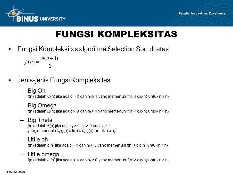 FUNGSI KOMPLEKSITAS Fungsi Kompleksitas algoritma Selection Sort di atas. Jenis-jenis Fungsi Kompleksitas.