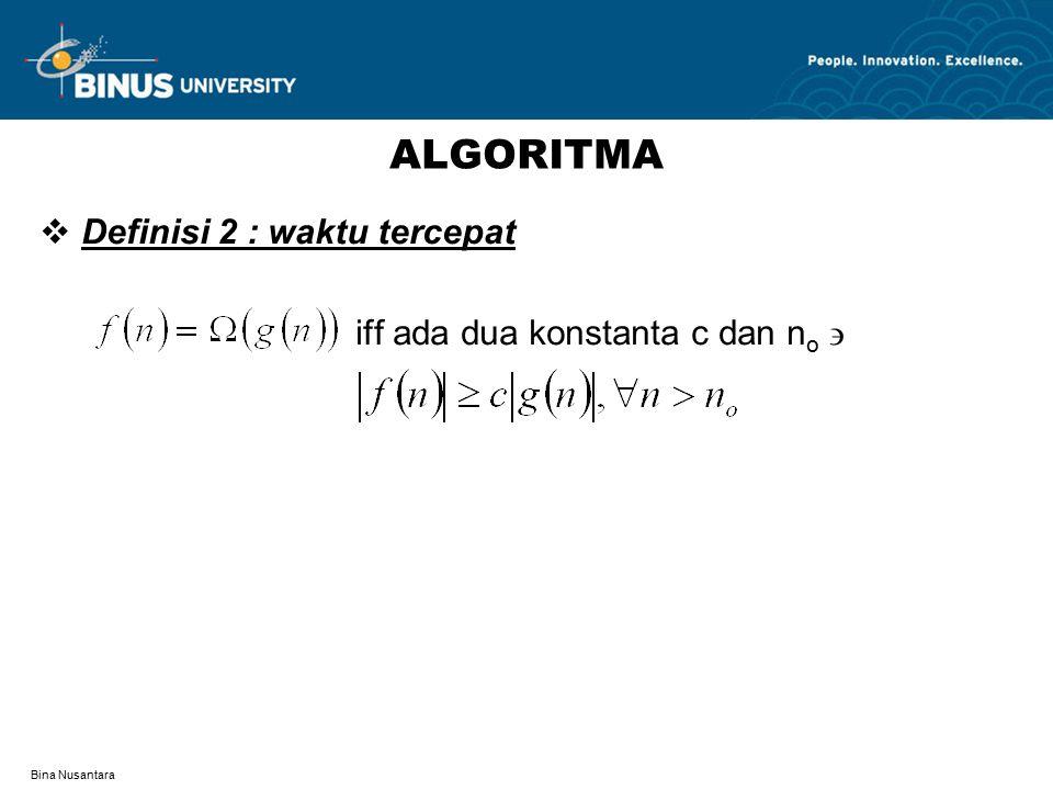 ALGORITMA Definisi 2 : waktu tercepat iff ada dua konstanta c dan no 