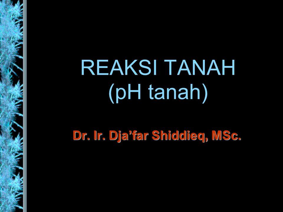 REAKSI TANAH (pH tanah)