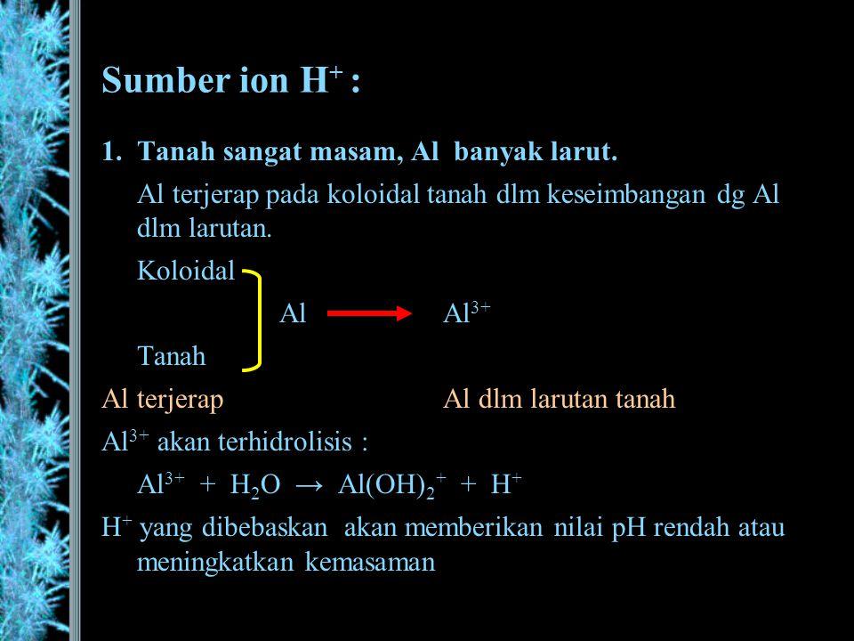 Sumber ion H+ : Tanah sangat masam, Al banyak larut.