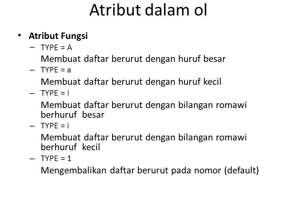 Atribut dalam ol Atribut Fungsi