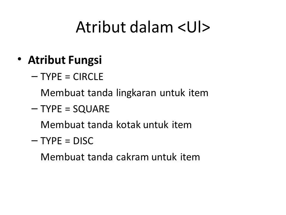 Atribut dalam <Ul>