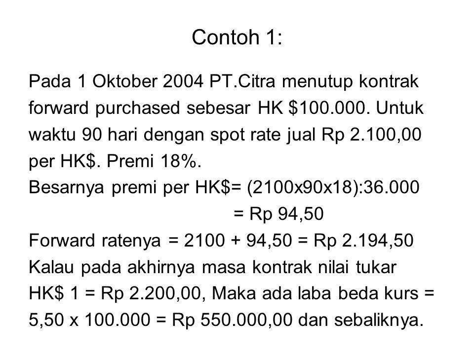 Contoh 1: Pada 1 Oktober 2004 PT.Citra menutup kontrak