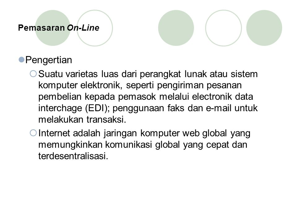 Pemasaran On-Line Pengertian.