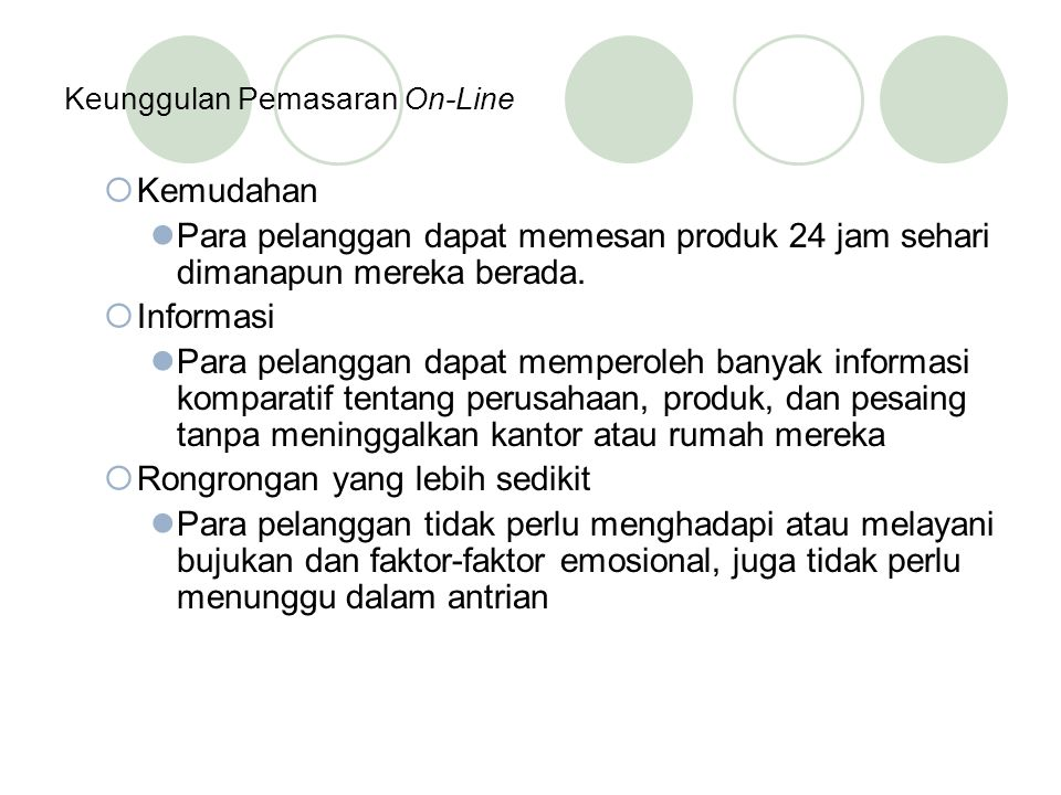 Keunggulan Pemasaran On-Line