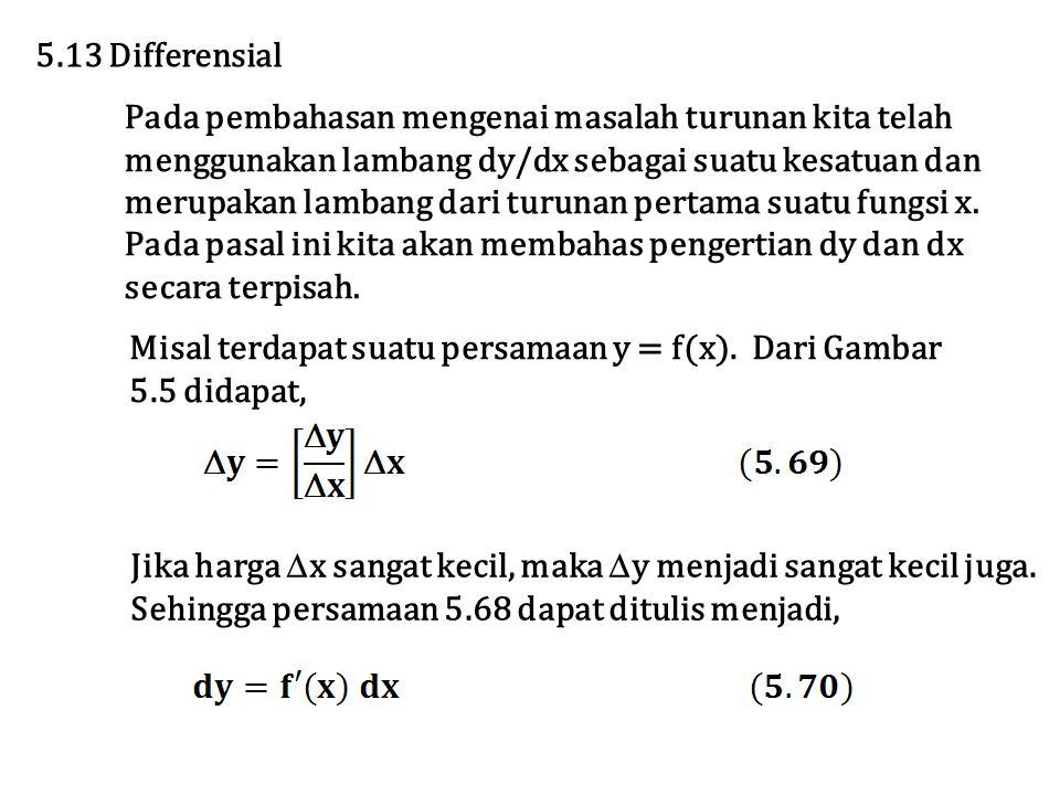 5.13 Differensial Pada pembahasan mengenai masalah turunan kita telah. menggunakan lambang dy/dx sebagai suatu kesatuan dan.