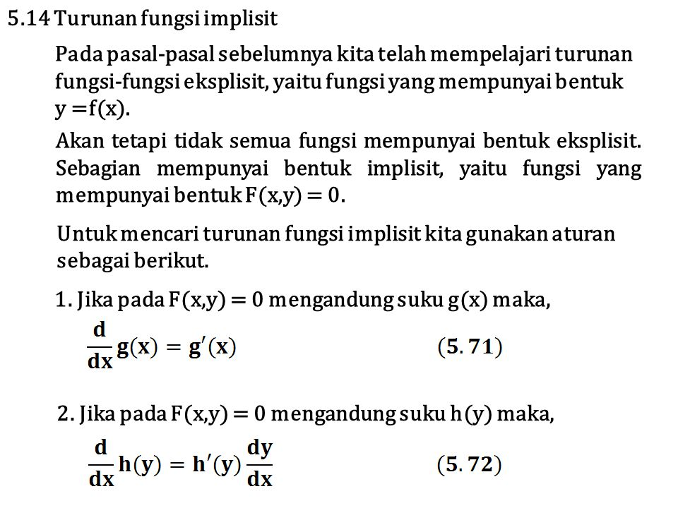 5.14 Turunan fungsi implisit