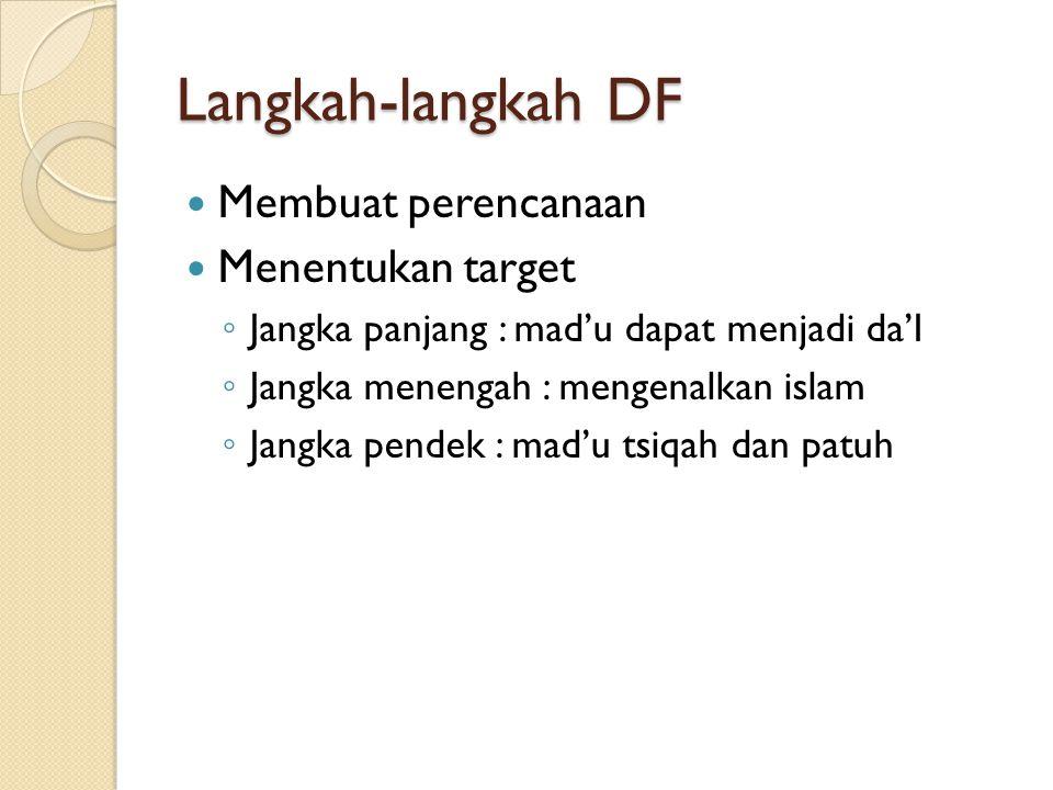 Langkah-langkah DF Membuat perencanaan Menentukan target