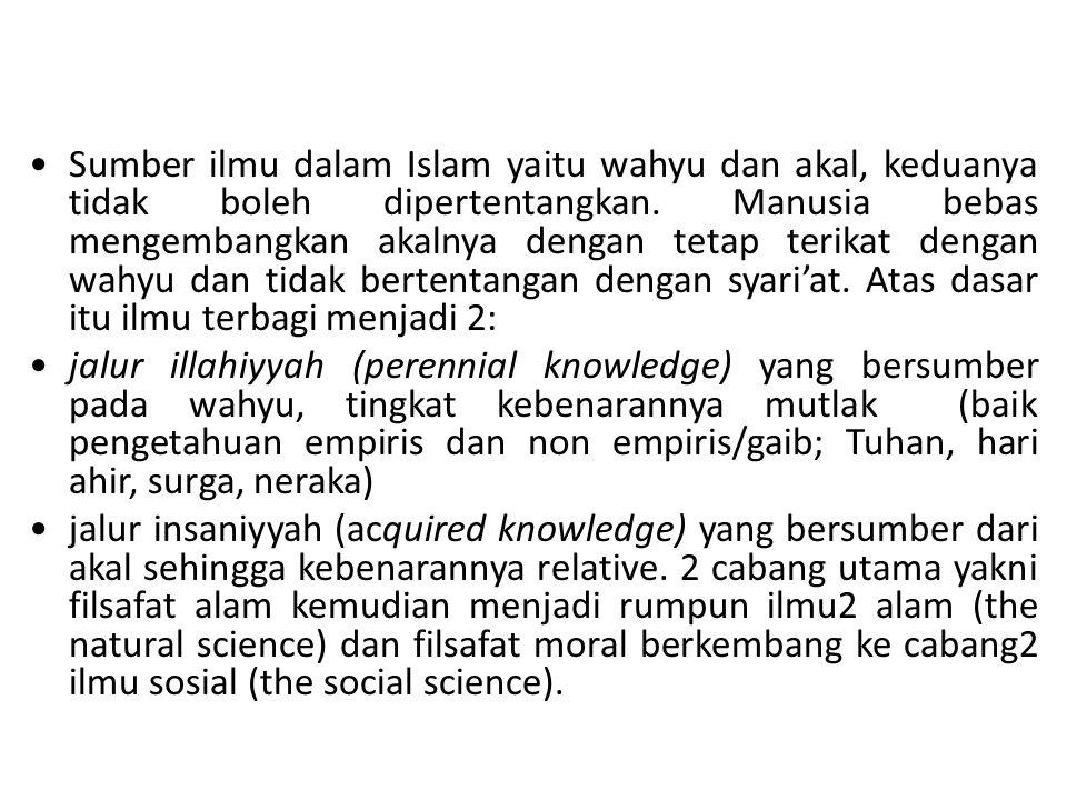 Sumber ilmu dalam Islam yaitu wahyu dan akal, keduanya tidak boleh dipertentangkan. Manusia bebas mengembangkan akalnya dengan tetap terikat dengan wahyu dan tidak bertentangan dengan syari'at. Atas dasar itu ilmu terbagi menjadi 2: