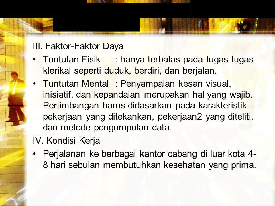 III. Faktor-Faktor Daya