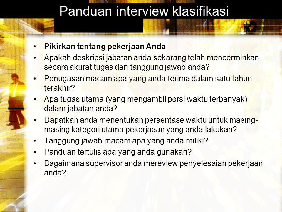 Panduan interview klasifikasi