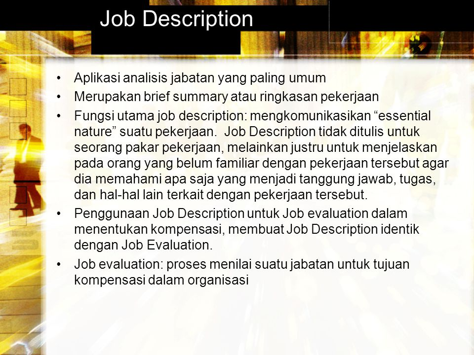 Job Description Aplikasi analisis jabatan yang paling umum