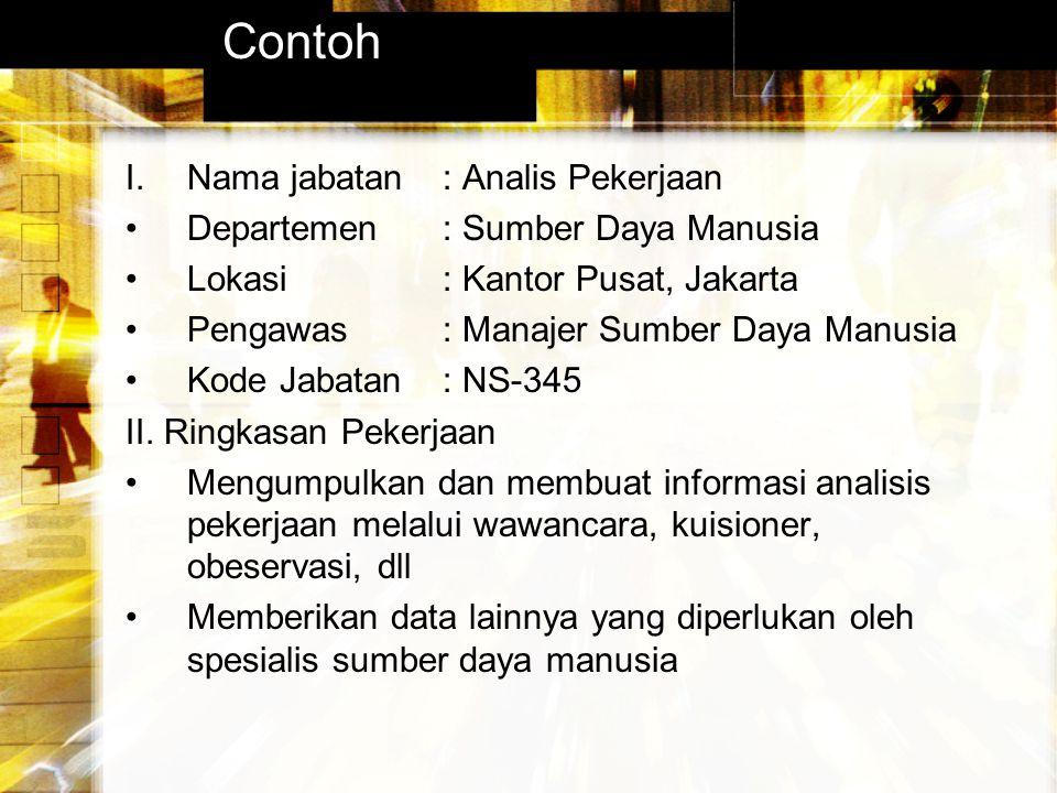 Contoh I. Nama jabatan : Analis Pekerjaan