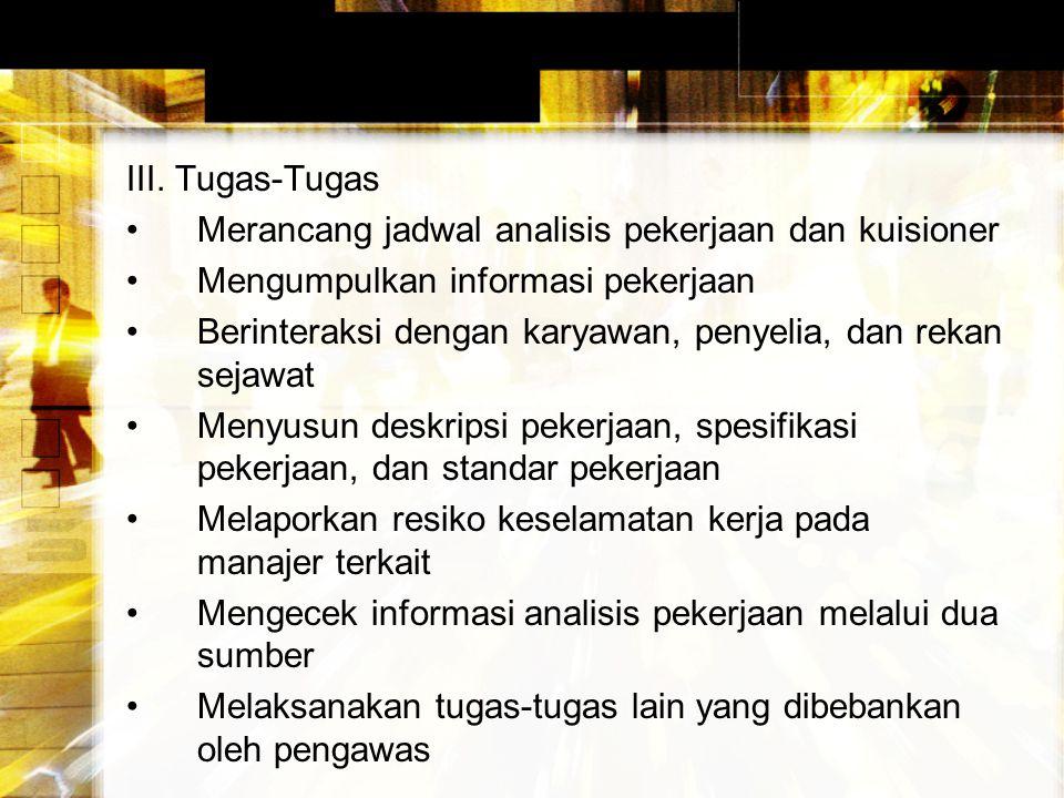 III. Tugas-Tugas Merancang jadwal analisis pekerjaan dan kuisioner. Mengumpulkan informasi pekerjaan.