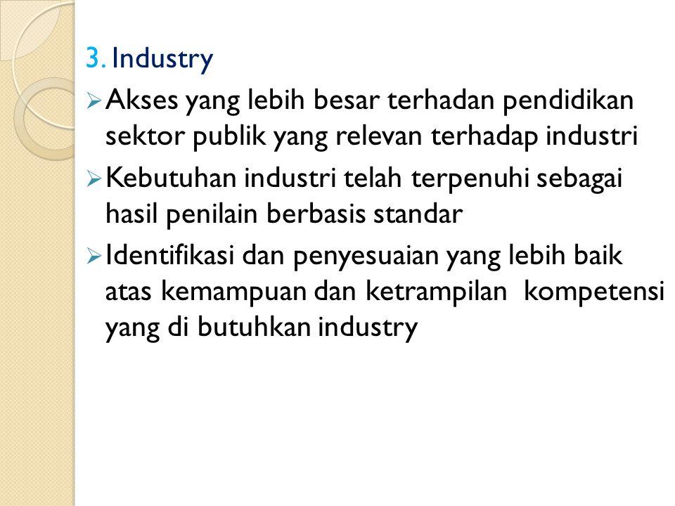 3. Industry Akses yang lebih besar terhadan pendidikan sektor publik yang relevan terhadap industri.