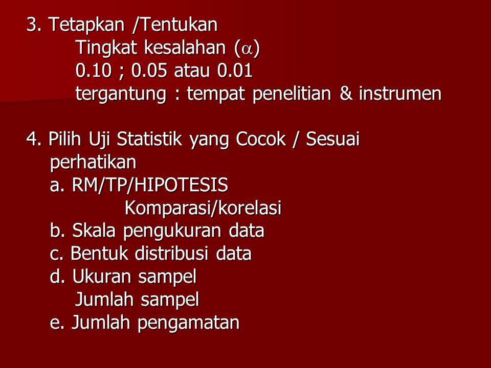 3. Tetapkan /Tentukan Tingkat kesalahan () 0.10 ; 0.05 atau 0.01. tergantung : tempat penelitian & instrumen.