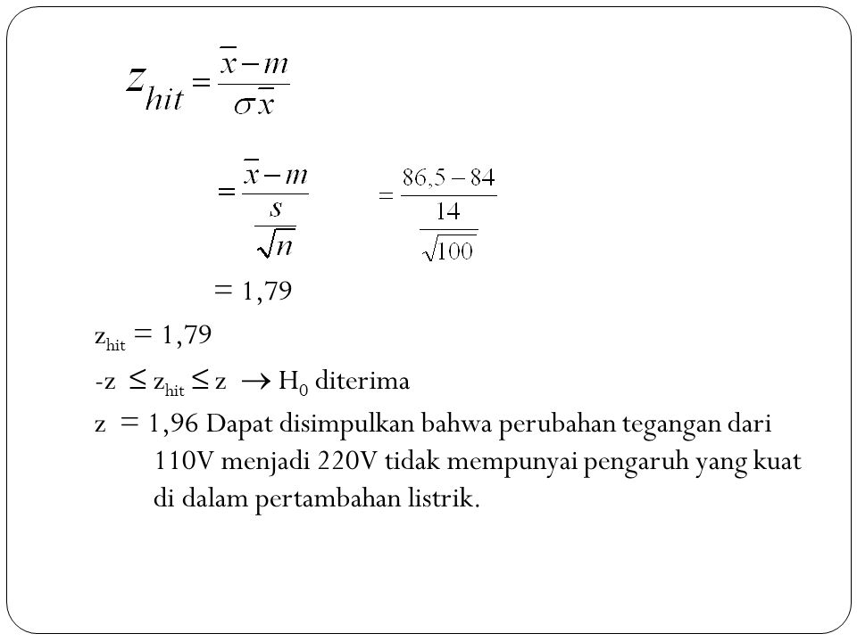 = 1,79 zhit = 1,79. -z ≤ zhit ≤ z  H0 diterima.