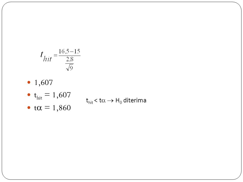 1,607 thit = 1,607 t = 1,860 thit < t  H0 diterima